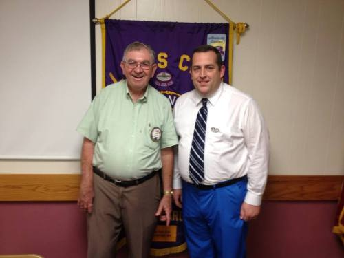 Clinton Lions Club President Jerry Hatch with 1st VDG Rev. Ken Smith.