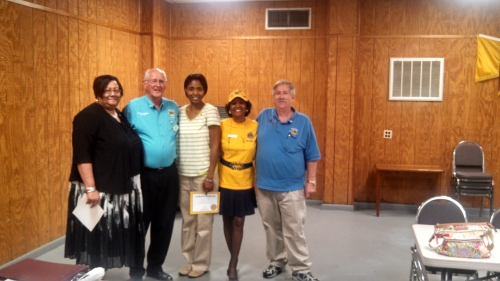 DG Vince met with the Members of the Hamlet Lions Club on September 5.  The highlight of the evening was the induction of two new members.  Congratulations  to Debora Wall and Valerie Nichols.  Picture includes Debora,Valerie, President Jerry Thomas, sponsor Rena Shedrick-Marshall and DG Vince.   The club was busy making plans to host the Richmond County Agricultural Fair for the 55th year.